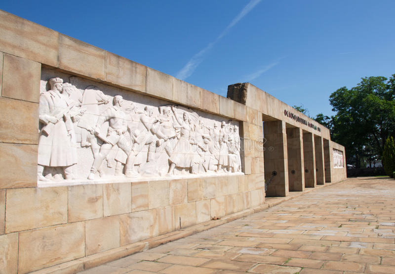 Landscape of entrance of cemetery to liberators of Belgrade, Serbia royalty free stock photos