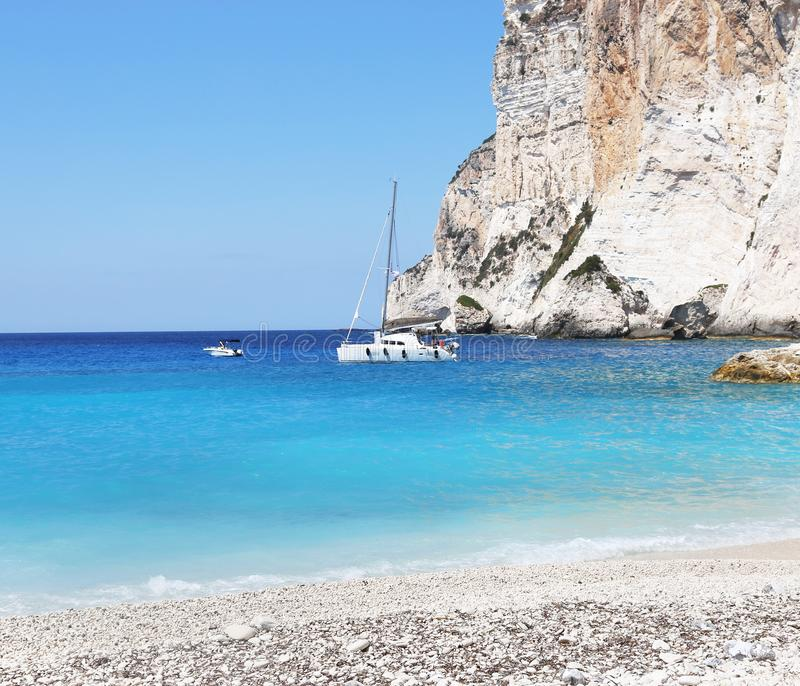 Landscape of Erimitis beach Paxos island Greece stock photo