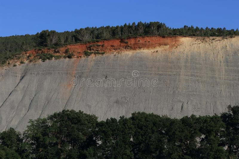 Landscape eroded with black marls in Corbieres, France. Landscape eroded with black marls in Corbieres, Aude in Occitanie. South of France royalty free stock photography