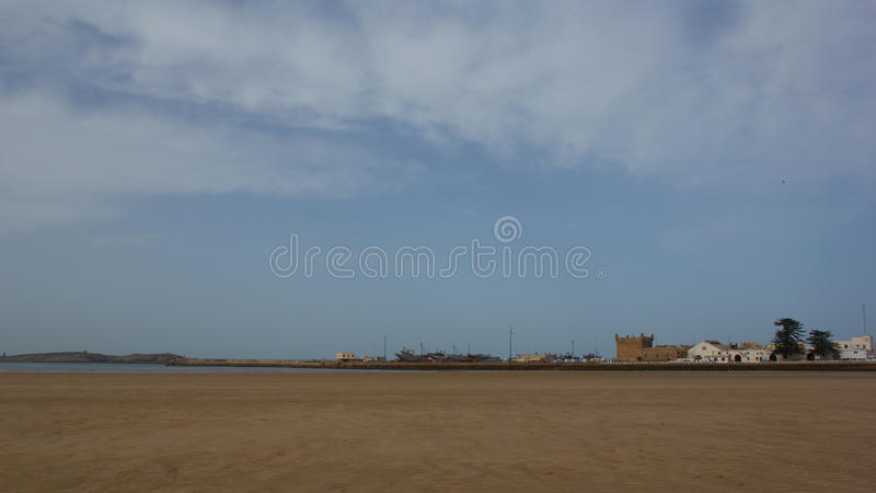 Landscape Essaouira harbour. In the distance stock photography