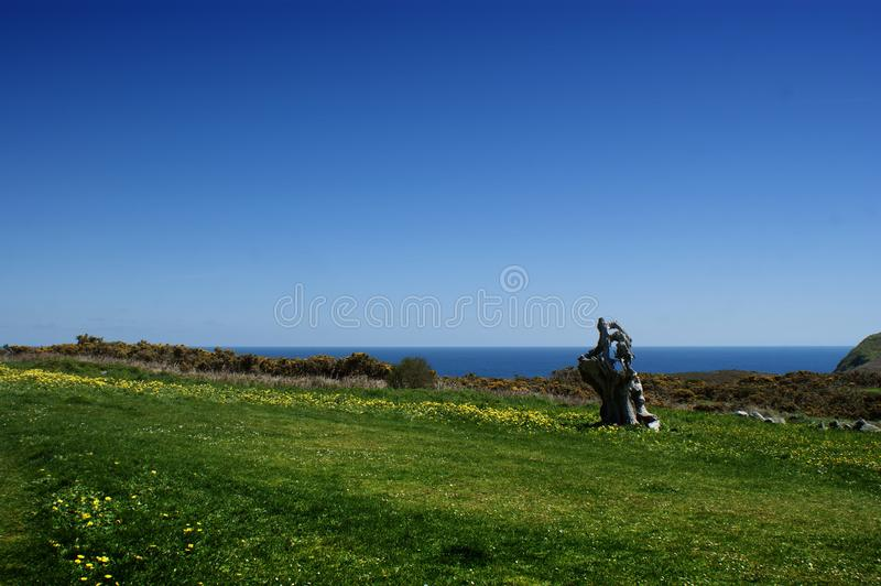 Landscape in Estaca de Bares, Galicia, Spain. Beautiful landscape in Estaca de Bares Coruña, Spain. Green meadows with flowers, Atlantic waters and blue stock images