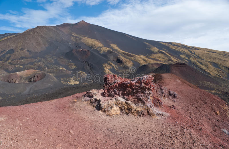 Landscape of etna craters. Etna has very interesting ever-changing landscape because of the eruption of new craters stock photography