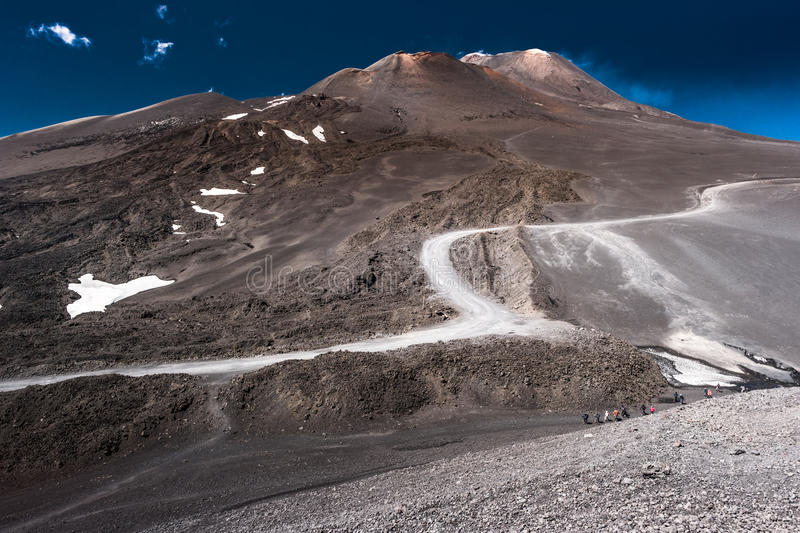 Landscape of Etna volcano, Sicily, Italy. Deserted martian-like surface. Beautiful Travel photography royalty free stock photos
