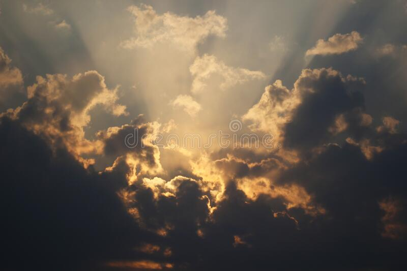 Evening cloudy sky at sunset royalty free stock images
