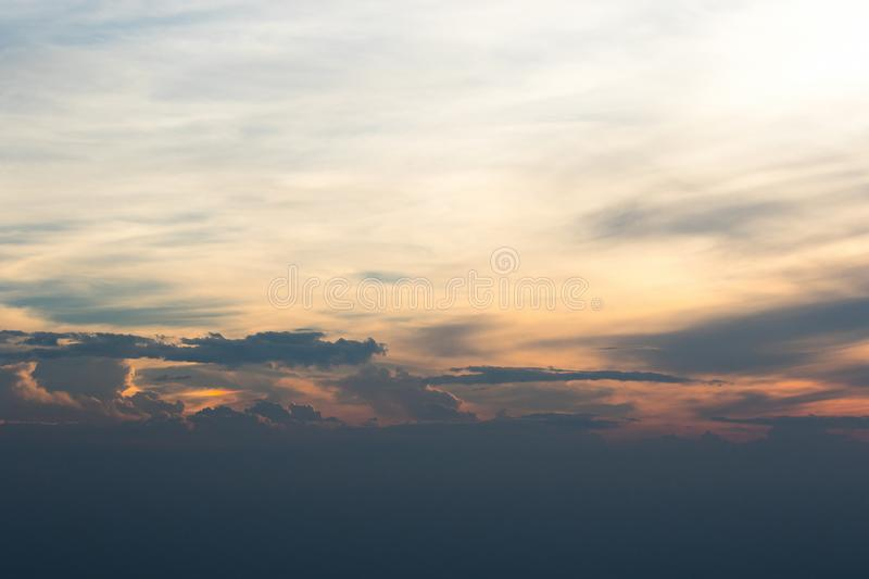 The landscape Evening sky and sunset light. In the summer of Thailand stock photography