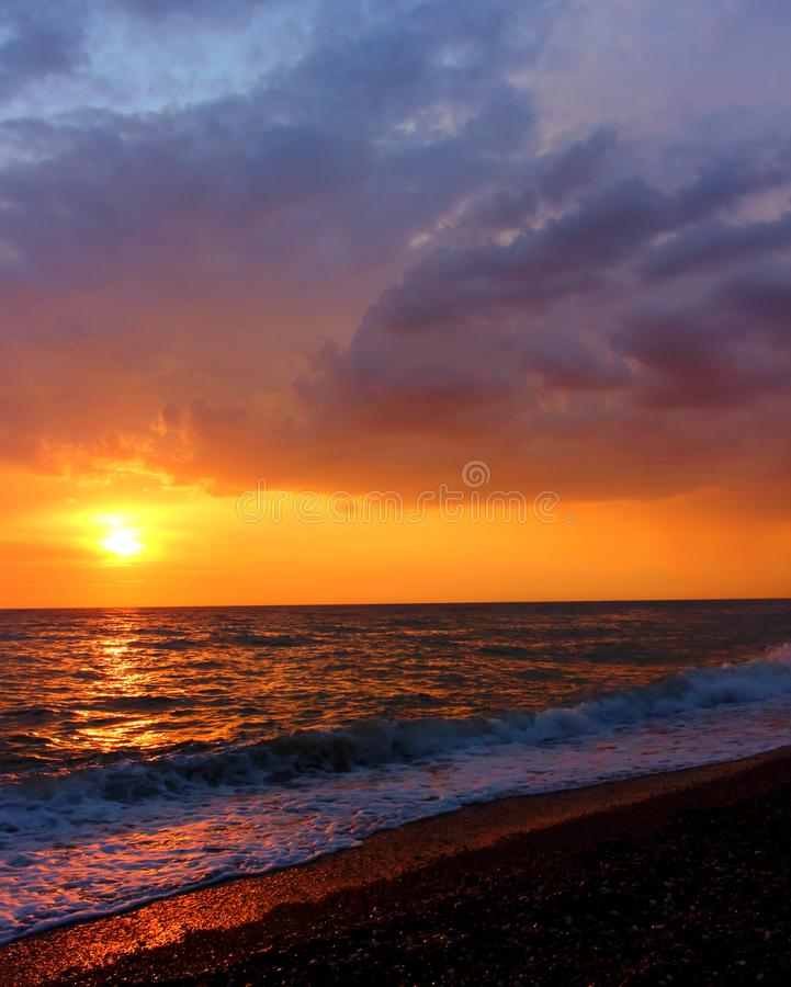 Landscape of fabulous sunset over the sea stock photography