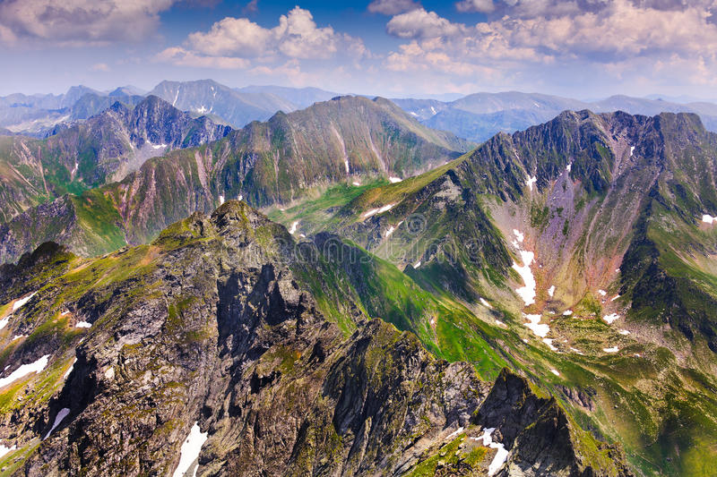 Landscape with Fagaras mountains in Romania. Landscape from the rocky Fagaras mountains in Romania in the summer stock photos