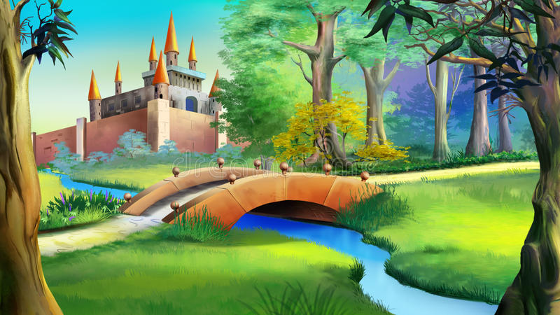 Landscape with fairy tale castle and small bridge over the river stock illustration