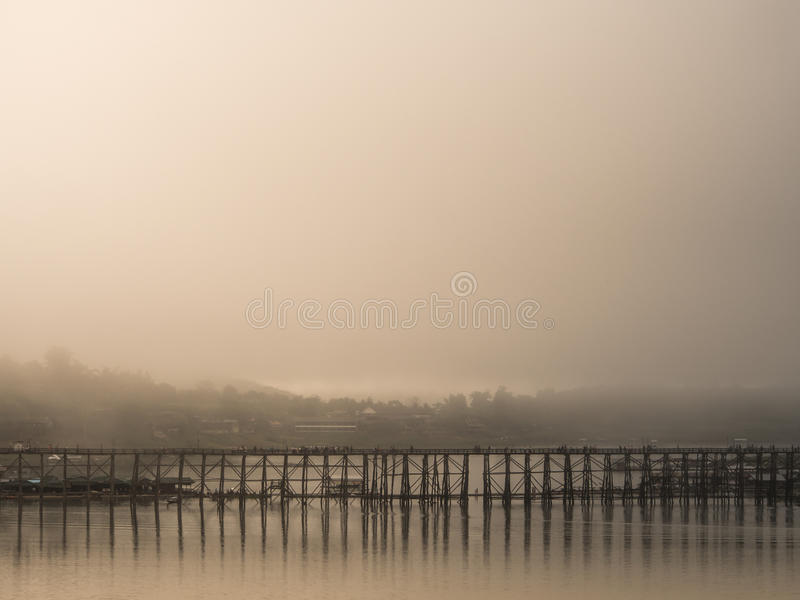 Landscape of famous wood bridge (Mon Bridge) inThailand royalty free stock images