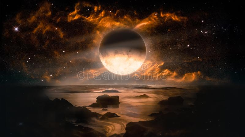 Landscape in fantasy alien planet with flaming moon and galaxy background. stock illustration