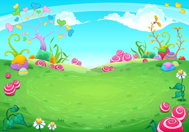 Landscape with fantasy natural elements. Vector cartoon illustration royalty free illustration