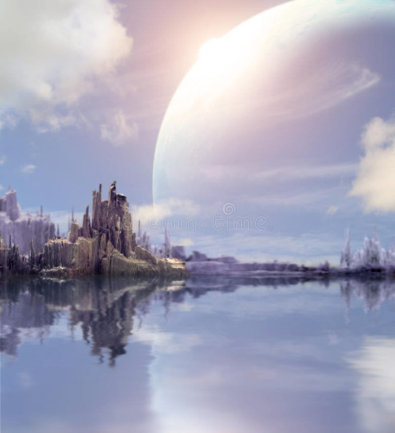 Landscape in fantasy planet stock photography