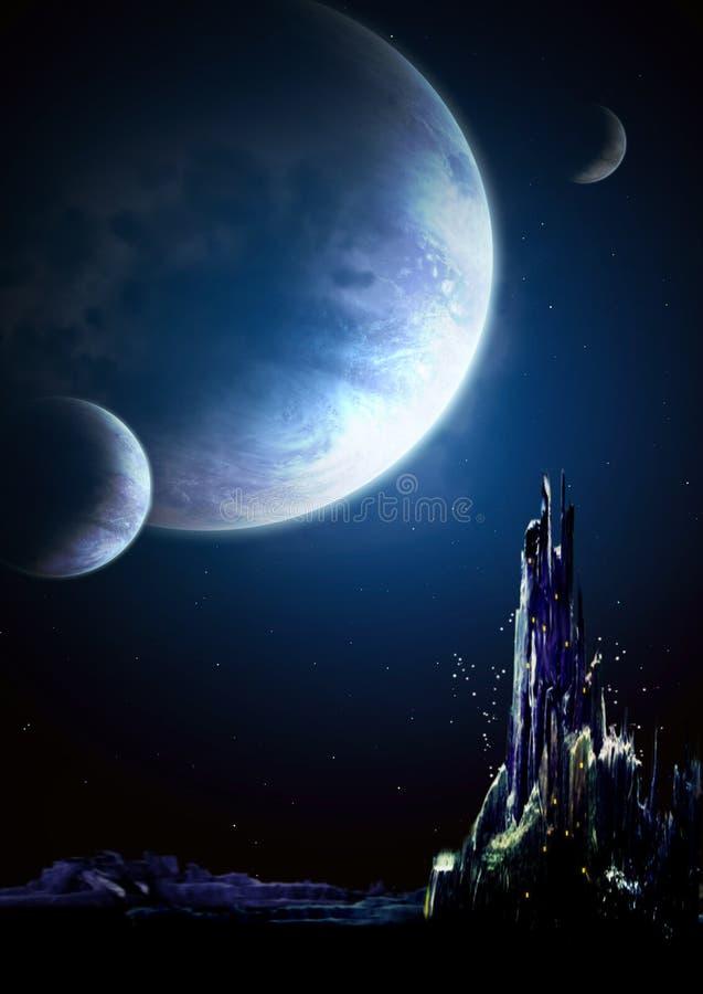 Landscape in fantasy planet royalty free illustration