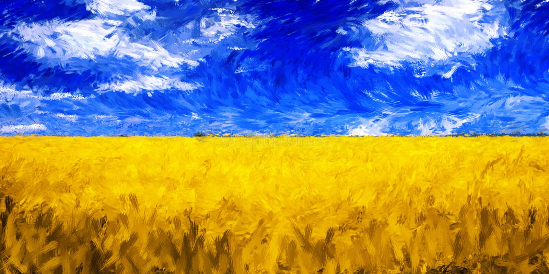 Landscape field grain impressionism oil painting. Landscape field grain impressionist oil painting vibrant color royalty free stock photos