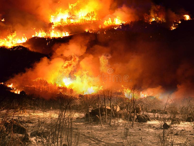 Terrible Summer Fire. Landscape of fields and mounts burning in summer, due to the carelessness of people royalty free stock images
