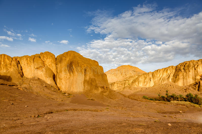 Landscape of Fint oasis near the city Ouarzazate. Geologically very interesting country over Fint oasis near the city Ouarzazate in Morocco stock image