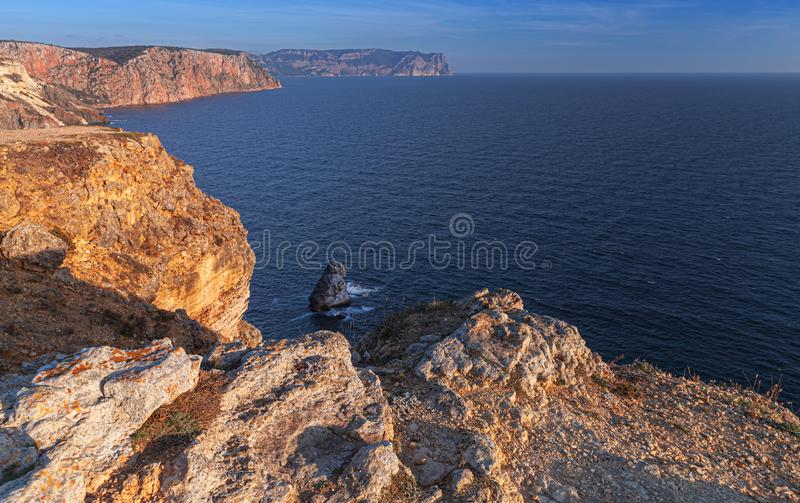 Landscape with Fiolent rocks, Crimea. Landscape with Fiolent rocks formation on the coast of Sevastopol royalty free stock photography