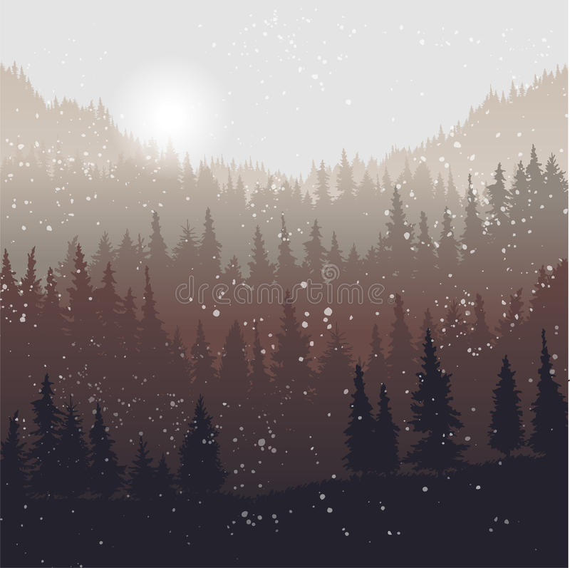Landscape with fir trees and snow vector illustration