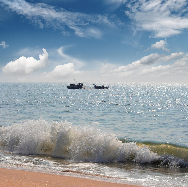 Beach Landscape With Fishermen: Old Fishing Boats On Beach