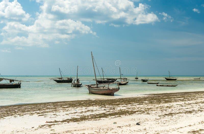 Landscape with fishing boats on the shore, Zanzibar stock photos