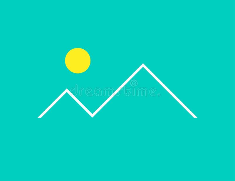Landscape in flat design. White linear mountains with yellow sun on green background stock illustration