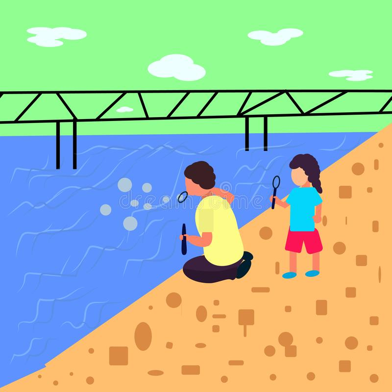 Landscape flat style, boy and girl blow bubbles near the sea where is the bridge stock illustration
