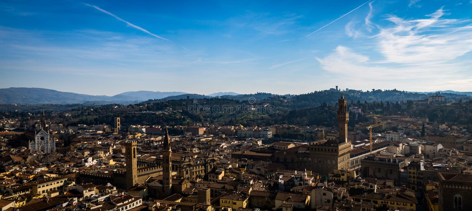 Landscape of Florence from the Giotto`s Campanile royalty free stock photos