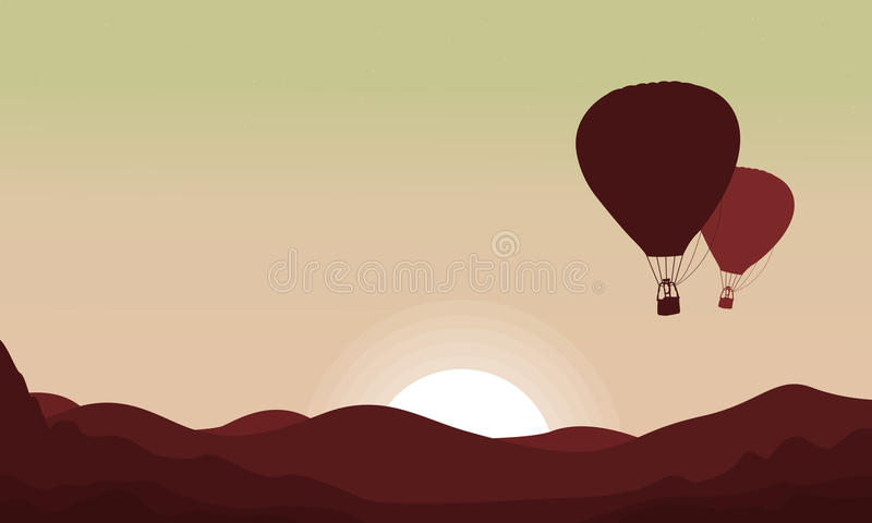 Landscape with flying balloon in the sky. Vector art stock illustration