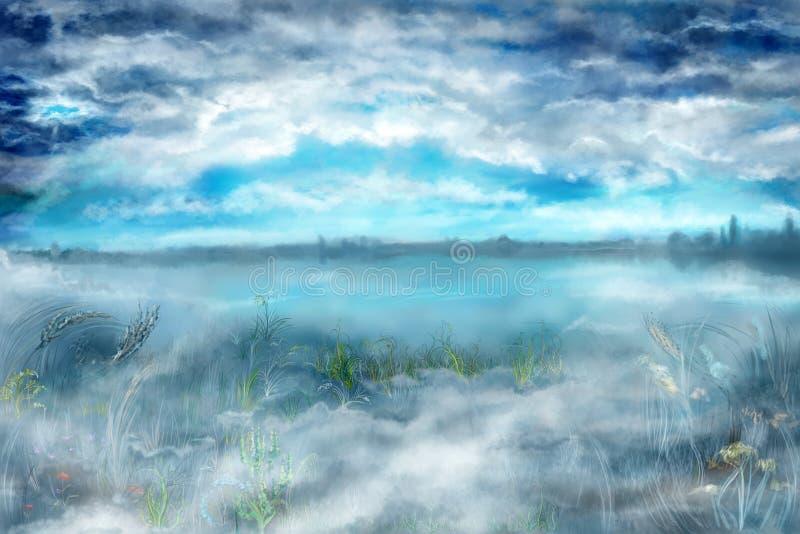 Landscape with fog stock illustration