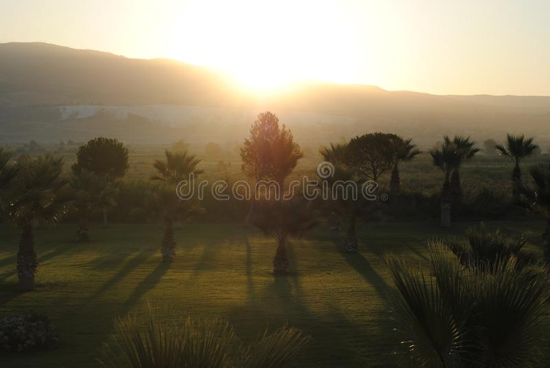 Landscape with foggy hills and trees at sunrise. Misty morning golden sunrise in Turkish royalty free stock images