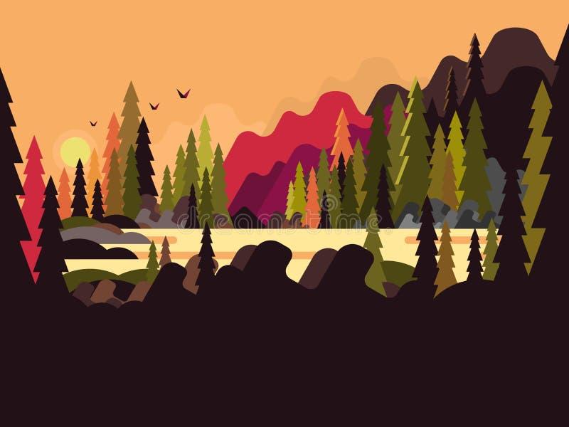 Landscape Illustration Vector Free: Landscape Forest Flat Design Stock Vector