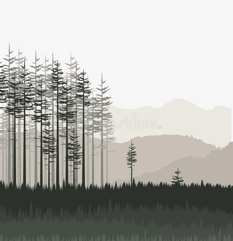 Landscape with forest stock illustration