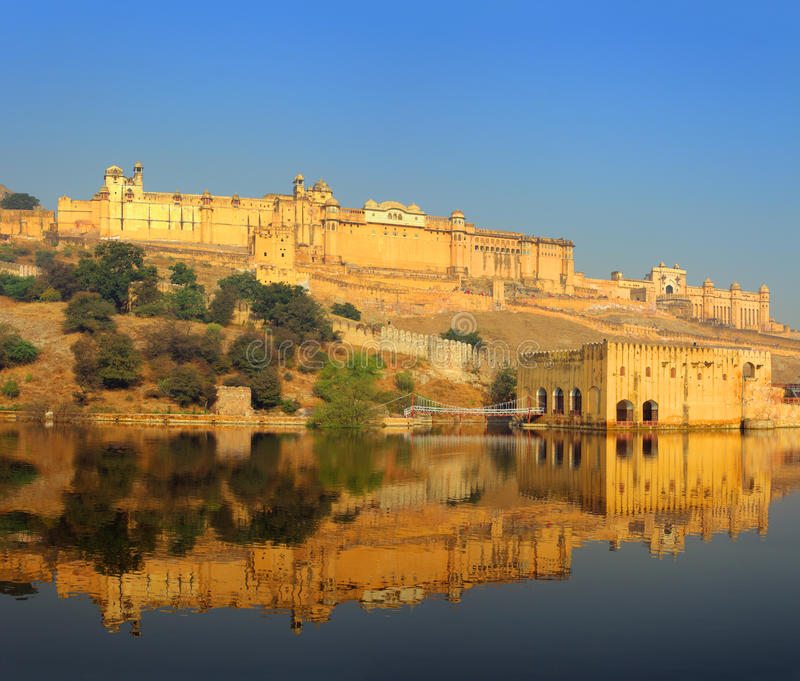 Fort and lake in Jaipur India. Landscape with fort and lake in Jaipur India stock photos