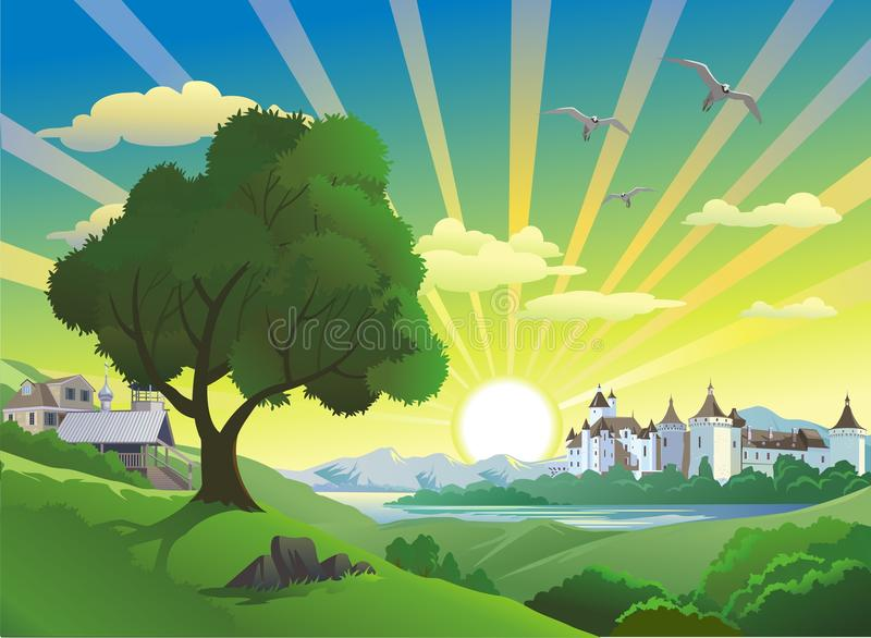 Landscape - the fortress above the lake. In vector vector illustration