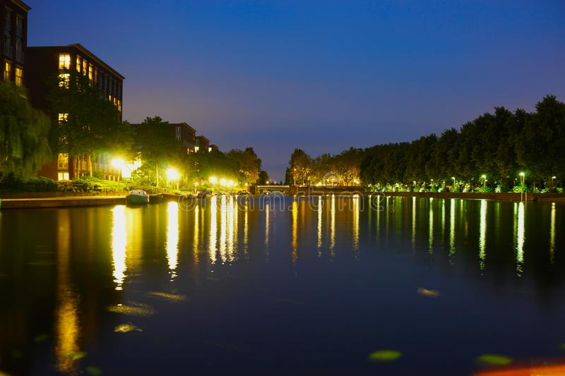 Landscape foto of amsterdam near erasmus park. At night stock photography