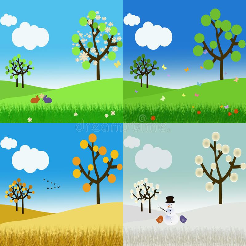 Download Landscape In The Four Seasons Stock Photos - Image: 24446353