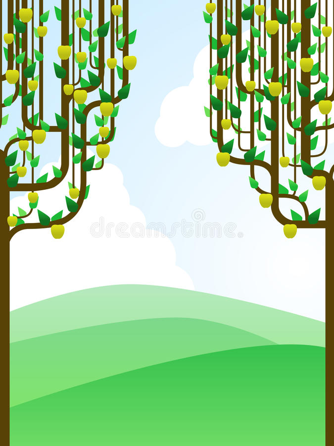 Landscape framed by apple trees. Very simple landscape framed by two golden apple trees vector illustration