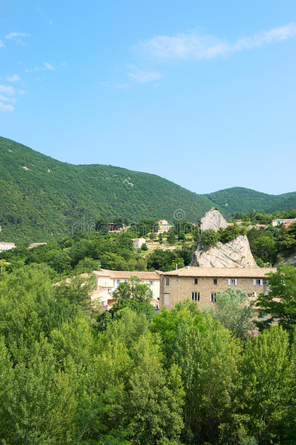 Landscape in France. Landscape in French Drome Provencal with hills and houses near Nyons royalty free stock images