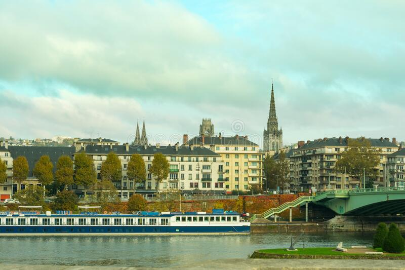 Landscape of french town Rouen in Normandy stock image