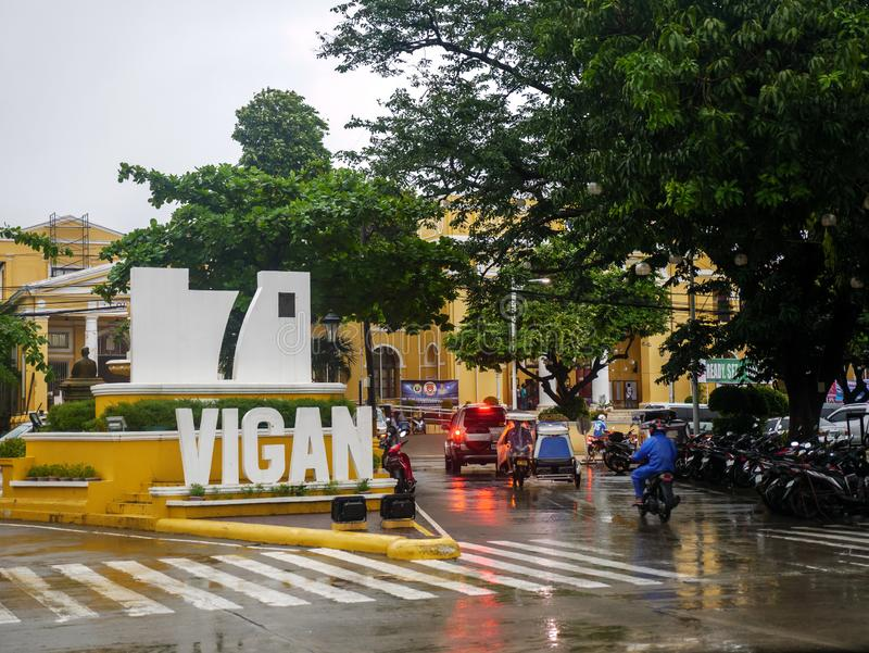 Landscape in front of Vigan City on a rainy day,Vigan City, Philippines,Aug 24,2018. Aug 24,2018 Vigan City, Philippines - Landscape in front of Vigan City on a royalty free stock image