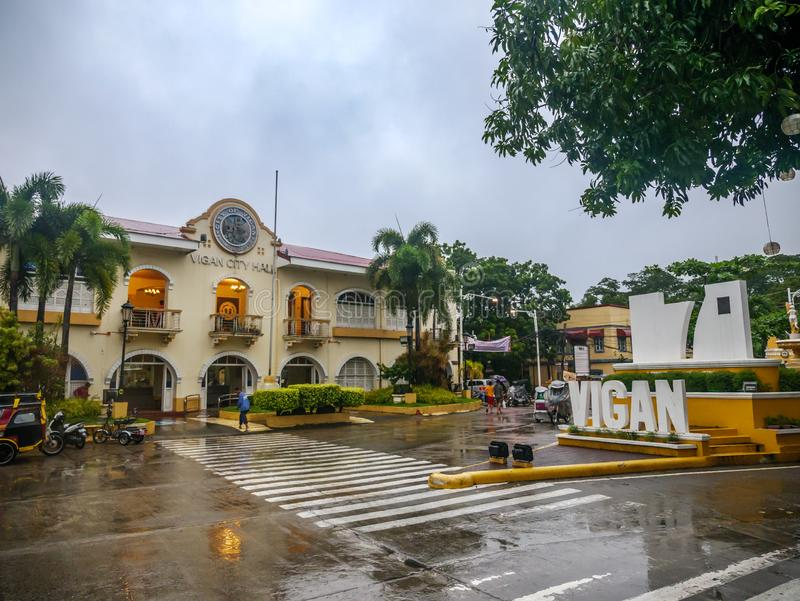 Landscape in front of Vigan City on a rainy day,Vigan City, Philippines,Aug 24,2018. Aug 24,2018 Vigan City, Philippines - Landscape in front of Vigan City on a stock photo