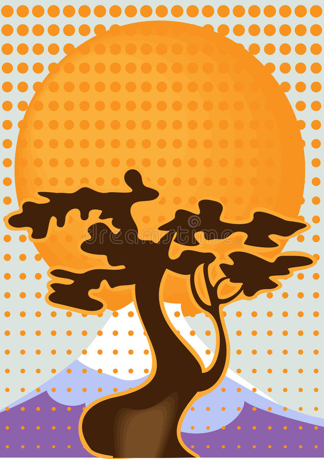 Landscape with Fuji. Landscape with a tree on the background of Fuji vector illustration