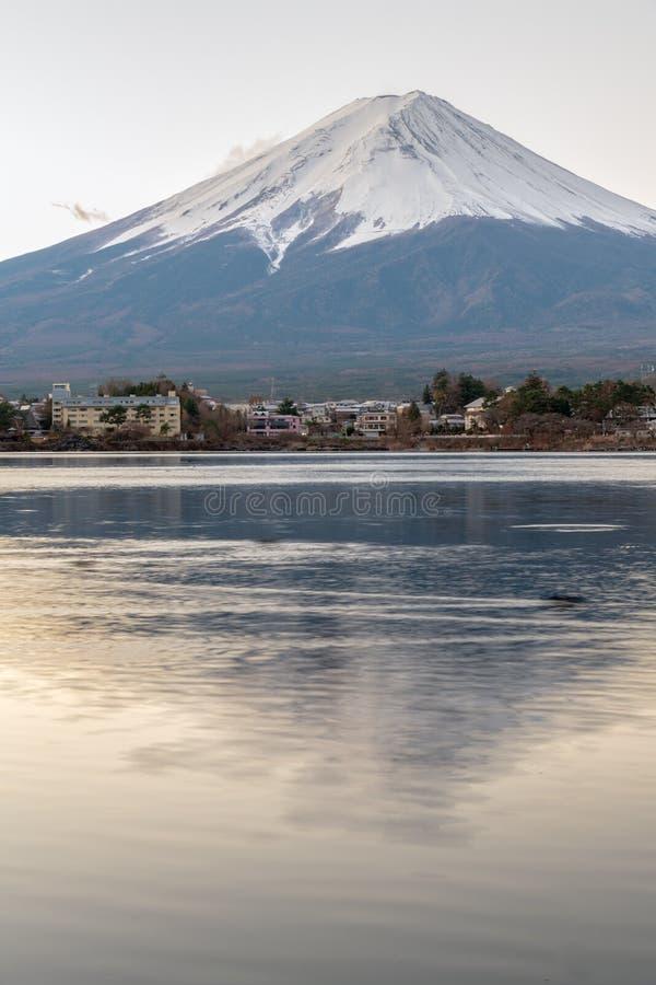 Landscape of Fuji Mountain at Lake Kawaguchiko stock photos