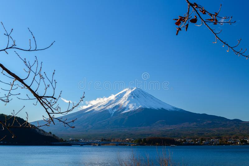 Landscape of Fuji Mountain at Lake Kawaguchiko stock image