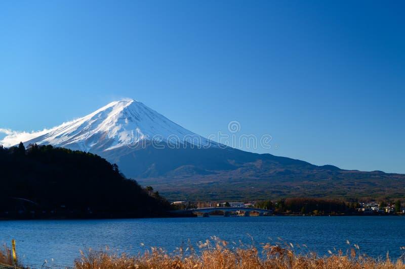 Landscape of Fuji Mountain at Lake Kawaguchiko stock photo