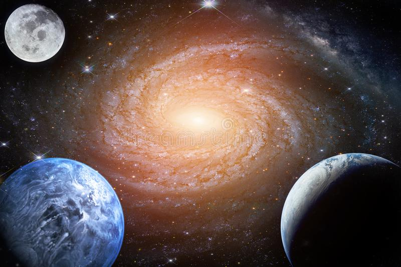 Landscape galaxy. Planet, Earth, moon view from space with Milky royalty free stock photo