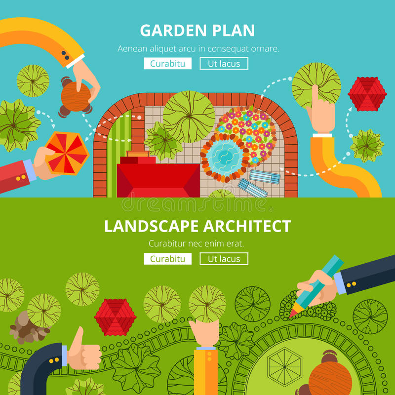 Landscape garden design concept poster royalty free illustration
