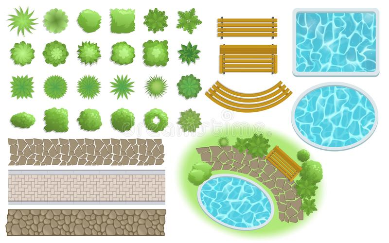 Landscape design and garden elements. Footpath, bench, pool, plants top view. Landscaping symbols set. Flat vector. Landscape, garden elements. Landscaping royalty free illustration