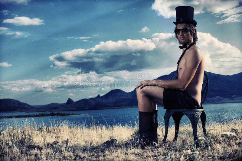 Landscape and gentleman royalty free stock photo