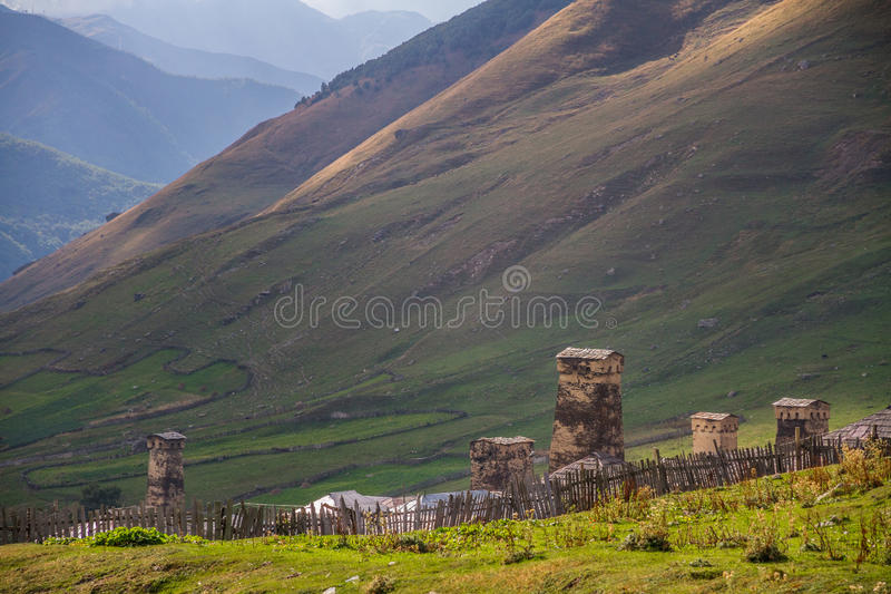 Landscape on the georgian hills stock image